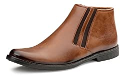 Escaro Mens Tan Formal Ankle Boots (ES1106KB_Tan_8)