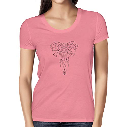 NERDO Geometric Elephant - Damen T-Shirt, Größe L, pink (T-shirt Damen Elephant Rosa)