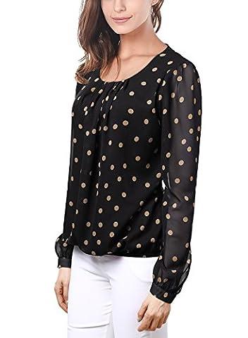 DJT Femme T-Shirt doux Blouse Chemisier Tops Imprime en tulle Manches longues Noir-Cafe XL