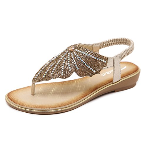 Zicac Damen Runde Peep Toe Elastische T-Strap Böhmen Roman Strass Low Flache Heel Sandalen Sommer Strand Post Flip Flops Flache Schuhe (EU 40 (Asien Tag 41), Gold)