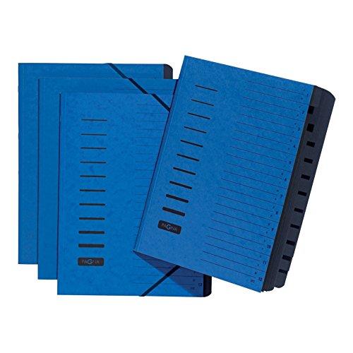 Pagna 24122-02 Ordnungsmappe 12-teilig Pressspan, Eckspanngummi, schwarzes Griffregister Aufdruck 1-12/A-Z auf dem Deckel, blau