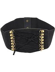 Accessoire pour Femmes Calonice Amorino ceinture stretch avec boucles dorées et lacets noirs Taille unique 30x1x10 cm (LxHxl) 25500