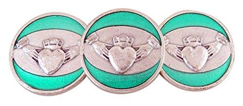 Religious Gifts Silberne Boden grün Emaille Liebe Treue Freundschaft Irish Pocket Token, Lot of 3, 11/20,3cm (Irische Claddagh-ring Für Männer)