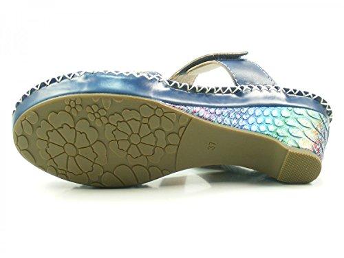 Laura Vita CX9901-7 Daphne 07 Schuhe Damen Sandalen Keil Pantoletten Blau