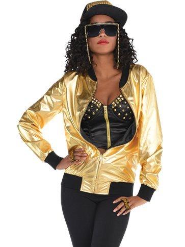 Superhelden Kostüm Gold Schwarz Und - Veka Garments 90er Jahre Hip Hop Gold Jacke - Erwachsene Kostüm