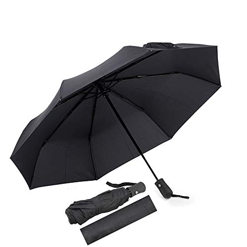 Paraguas Automático,Resistente al Viento Paraguas Durable Paraguas de Viaje Tela hidro-Repelente Botón de Apertura Automática Paraguas Plegable Automático(Negro)
