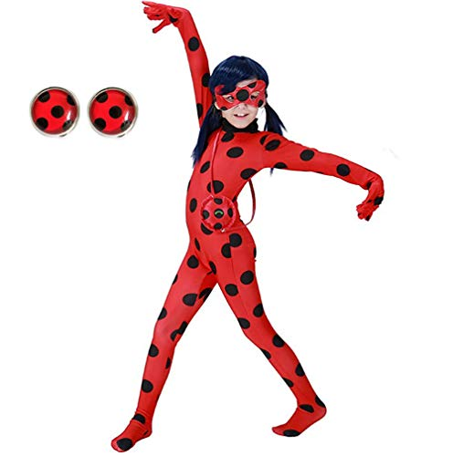 Yigoo Ladybug Mädchen Marienkäfer Kostüm Kinder Halloween Karneval Marinette Overall Party Cosplay 3er Set - Jumpsuit, Augenmaske, Tasche M (Halloweens Kostüm)