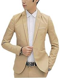 Laisla fashion Herren Sportsakko Männer Jungel Blazer Jackett Slim Fit  Anzugjacke Classic Business Freizeit Smoking Einfarbig e01b638519