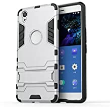 DBIT One Plus X funda Alta calidad Escabroso Durable Estuche protector TPU/PC funda carcasa case con pata de cabra para One Plus X,Plata