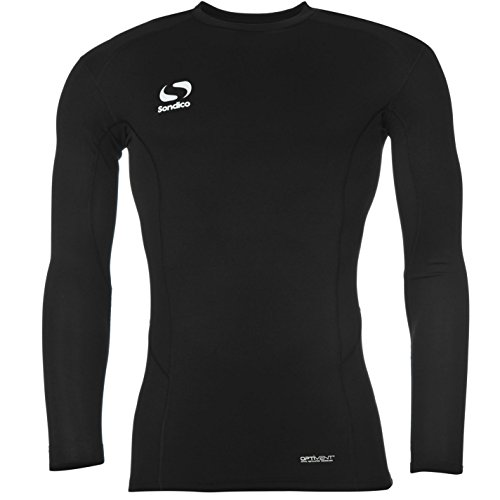 Sondico Kinder Core Baselayer Langarm Kompression Sport Funktion Shirt Schwarz 7-8 Yrs -