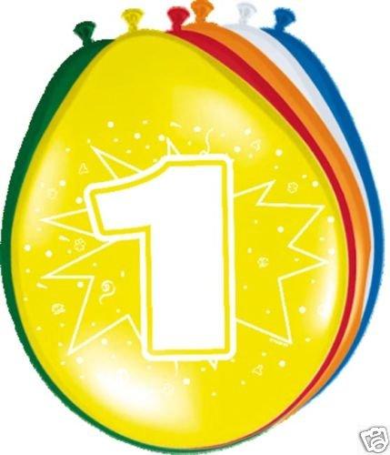 Folat 8201 Luftballons 1. Geburtstag Party-Deko 8 Stück bunt 30cm