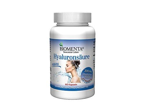 Biomenta® HYALURONSÄURE hochdosiert - 200 mg - VEGAN - Bindegewebe, Gelenke und Schleimhäute - 60 Hyaluron-Kapseln | 2 Monatskur