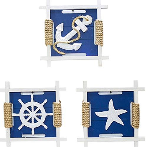 LOOKUR Mediterraner Anker Leuchtturm Rettungsring Rahmen Kombination Dekorative Wandbehang Retro Alte Serie Dekorative Malerei Hanfseil DREI-A
