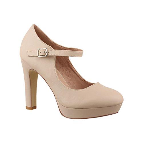 Elara Zapato de Tacón Alto con Correa para Mujer Vintage Chunkyrayan E22320 Beige-38
