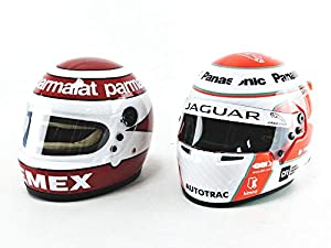 Mini Helmet - Coche en Miniatura de colección, Color Blanco y Rojo