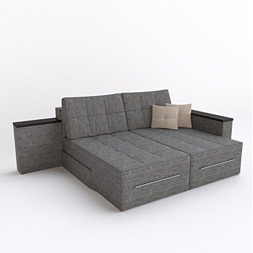 Ecksofa mit Schlaffunktion Eckcouch Sofa Couch Schlafsofa Relax Funktion Grau (Rotationsfunktion: Links) - 4
