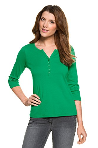 GINA_LAURA Damen Shirt   kurze Knopfleiste   Rundhals   3/4-Arm   gerippter Jersey   bis Größe XXXL 709818 mittelgrün