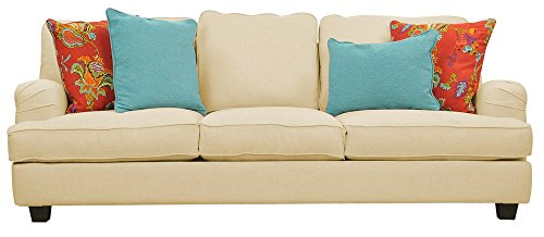 Afydecor Classic Three Seater Sofa with a Curvy Silhouette -White