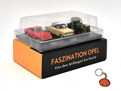 Opel 3er Set mit Opel Laubfrosch Kadett A und GT 199 Metall Miniaturmodelle Modellauto 1:87 H0 Atlas inkl. Opel Schlüsselring