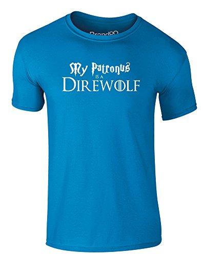 Brand88 - My Patronus is a Direwolf, Erwachsene Gedrucktes T-Shirt Azurblau/Weiß