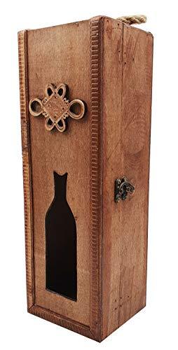 hLine Holz Weinbox Wein Geschenk-Box Weinkiste für 1 Flasche
