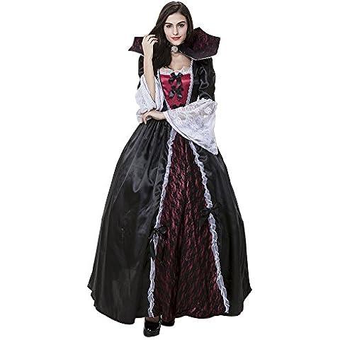 LaoZan Traje del vampiro gótico para mujer Adulto vestido de princesa Cosplay Negro