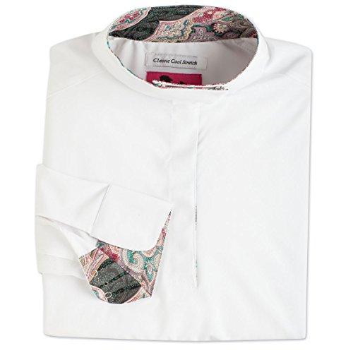 RJ Classics Damen Prestige Lange Ärmel Show Shirt weiß W/schwarz Paisley Trim, White with Black Paisley Trim -