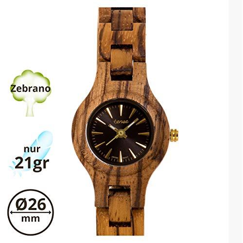 TENSE Pacific Damen Holzuhr analog Quarz-Armbanduhr Zebrano