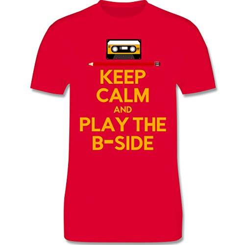 Music - keep calm and play the b-side - L190 Herren Premium Rundhals T-Shirt Rot