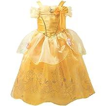 Little-Peach Disfraz de Vestido Princesa Amarillo con Capa Larga para Cumpleaños Carnaval Halloween Cosplay Niñas Talla 100 (2-3años)