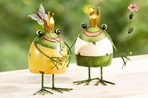 2er Set fröhliche Frösche aus Metall Figur Frosch Garten TOP