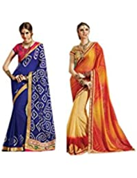 Mantra Fashions Women's Georgette Saree (Mant30_Multi)-Pack of 2