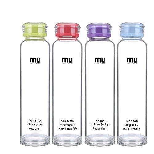 MIU COLOR® Wasserflasche, Glasflasche,Trinkflasche BPA-Frei 460ml, Wasserflasche Glas, Glasflasche,Trinkflasche der Schule für Smoothie und Obstsaft oder zu Hause geeignet. (Lila)