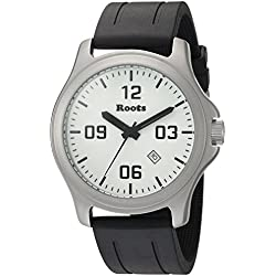 Roots Men's 'Core' Quartz Stainless Steel and Rubber Casual Watch, Color:Black (Model: 1R-LF400WH1B)