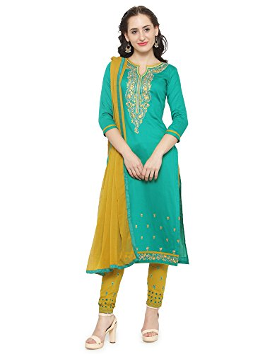Kvsfab Women's Sea Green & Mustard Color Cotton Unstitched Dress Material [KVSSK10074SDRS_4]