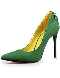 7177b391253e1 Mujeres Stilettos Sexy Alta Talones Puntas Inferior Boda Zapatos de Gamuza  Zapatos de tacón Bombas