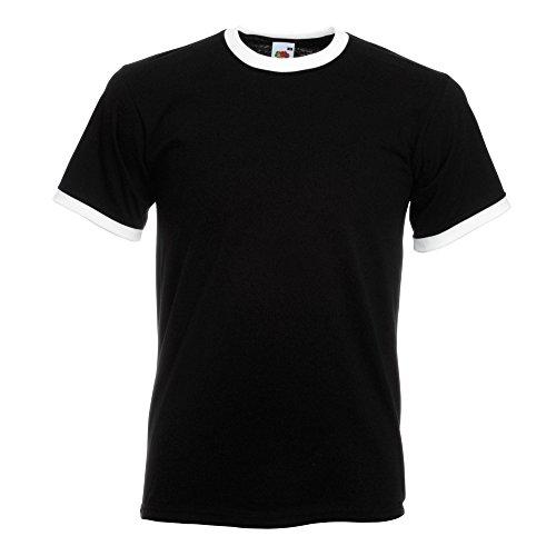 Baumwolle Ringer T-shirt (Fruit of the Loom Ringer T-Shirt SchwarzWeiss L)