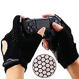 YoRHa Gaming Handschuhe Silikongriff Anti-Rutsch Anti-Schweiß Stoma Atmungsaktiv Design Perfekt bequeme Passform.Perfekt zum halten PS4,Xbox One,Switch und andere Game Controller(schwarz) L 4-4.3