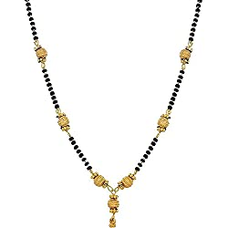 Zeneme Gold Plated Jewellery Mangalsutra Pendant Necklace with Chain For Girls And Women