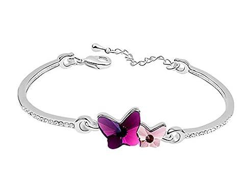 Sojewe Damen Doppel Schmetterlings Armband rosa Swarovski Elements Kristall auf Bangle Weiß Vergoldet Mode Accessoires Geschenk für Frau, Freundin