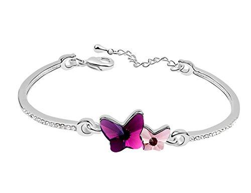 Sojewe Damen Doppel Schmetterlings Armband rosa Swarovski Elements Kristall auf Bangle Weiß Vergoldet Mode Accessoires Geschenk für Frau, Freundin (Armband Schmetterling)