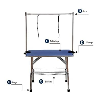 BUNNY BUSINESS Adjustable Portable Stainless Steel Dog Grooming Table with Arm Noose and Accessories Tray, 117 x 60 x 76 cm/ 46 x 23.6 x 30-inch, Black_P