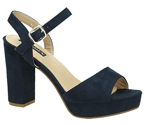 Damen Riemchen Abend Sandaletten High Heels Pumps Slingbacks Velours Satin Peep Toes Party Schuhe Bequem G7 (37, Blau 51) -