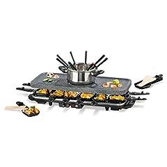 Idea Regalo - GOURMETmaxx 00972 Raclette- & Fondue-Set GRANITlook | nero/ argento