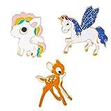 FENICAL 3 Piezas de Esmalte Unicornio Cervatillo broches Lindo Animal Solapa Pin Ramillete Pecho Ropa Bolsa decoración