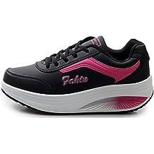2e6d7b78163cf NEWCOLOR Mujeres Primavera Otoño Moda Transpirable con Cordones Zapatos De Balancín  Zapatos Deportivos Ocasionales