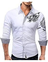 82c8d597c462 HET Herren Langarm Hemd Mode Herbst Casual Stickerei Drucken Baumwolle Slim  Fit Langarm-Kleid Shirt
