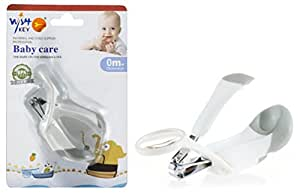 Wish key Easy Grip Plastic Safety Grey Nail Clipper/Cutter/Trimmer with Magnifying Glass for Baby, BPA-free