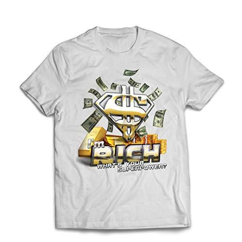 lepni.me Männer T-Shirt Ich Bin reich was ist Deine Supermacht, USD Superheld (XXXX-Large Weiß Mehrfarben)