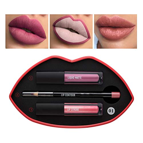 Sheer Lip Liner (Allbesta 2pcs Lipgloss und 1pcs Lip Liner Pencil Set mit Lippenform Geschenkbox Makeup Lippenstift Kit Wasserfest Langanhaltend)